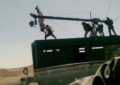 Jib on moving train with stunt rig